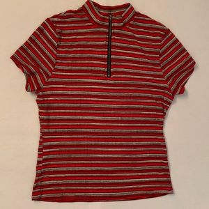 Red striped turleneck top